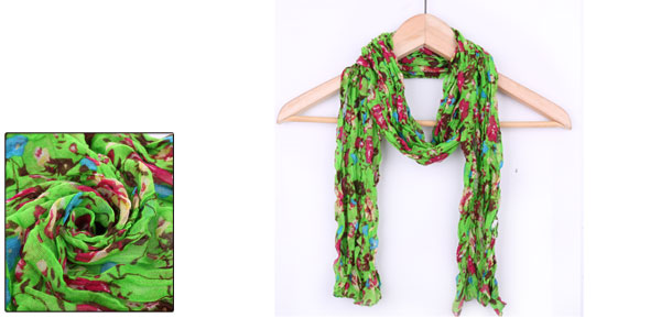 Girls Flower Pattern Ruched Sweet NEWS Scarf Green Fuchsia