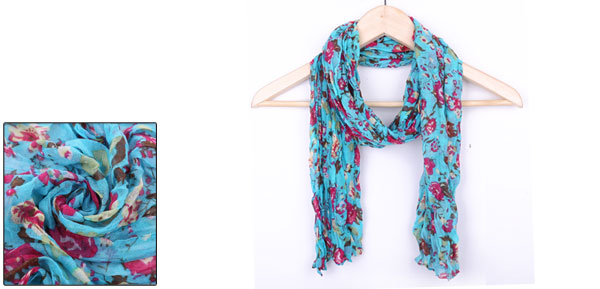 Girls Pleated Design Stylish Warm Winter Scarf Turquoise Fuchsia