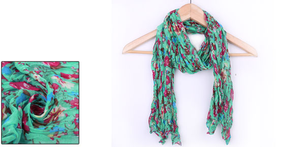 Girls Floral Prints Pleated NEW Winter Scarf Sea Green Fuchsia