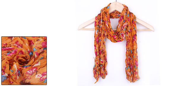 Girls Flower Pattern Semi Sheer Classic Warm Scarf Orange Fuchsia
