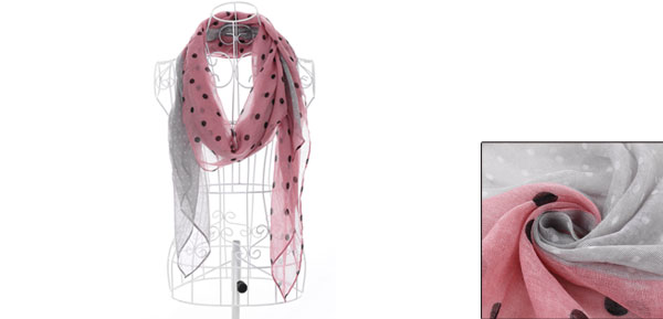 Girls Dots Pattern Color Blocking Autumn Scarf Pale Pink Gray