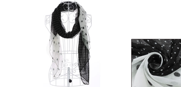 Girls Small Dots Pattern Patchwork Autumn Scarf Black White