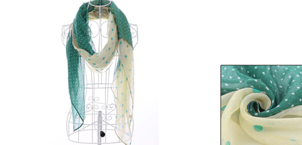 Girls Big Dots Prints Stylish Casual Scarf Green Yellow