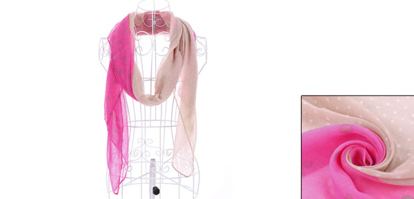 Girls Contrast Color Semi Sheer Soft Dots Scarf Fuchsia Light Pink