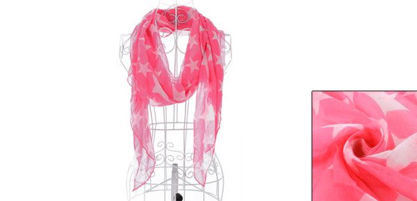 Girls Semi Sheer Classic Stylish Leisure Scarf Hot Pink White