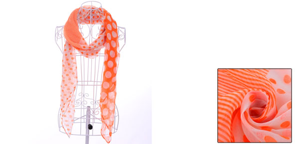 Girls Stripes Patchwork Soft Casual Scarf Orange White