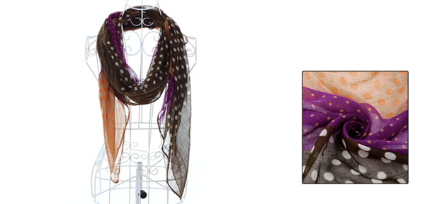 Light Coffee Purple Contrast Color Comfortable Long Scarf for Kids