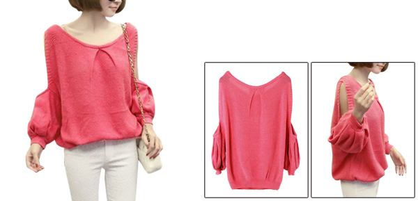 Women Scoop Neck Long Sleeve Sweet Sweater Watermelon Red S