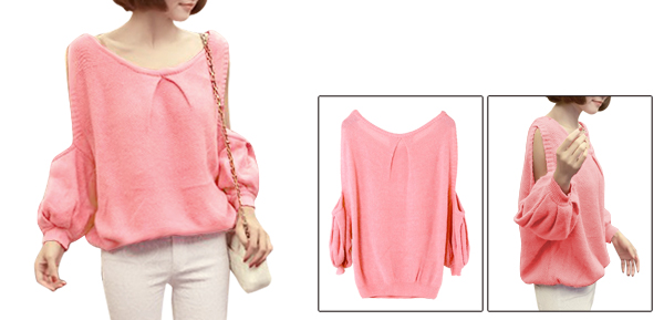 Women Pullover Cut Out Design Long Sleeve Loose Sweater Pink S