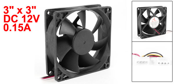 80mm x 80mm x 25mm DC 12V 0.15A Cooling Fan Cooler Black for Computer PC Case