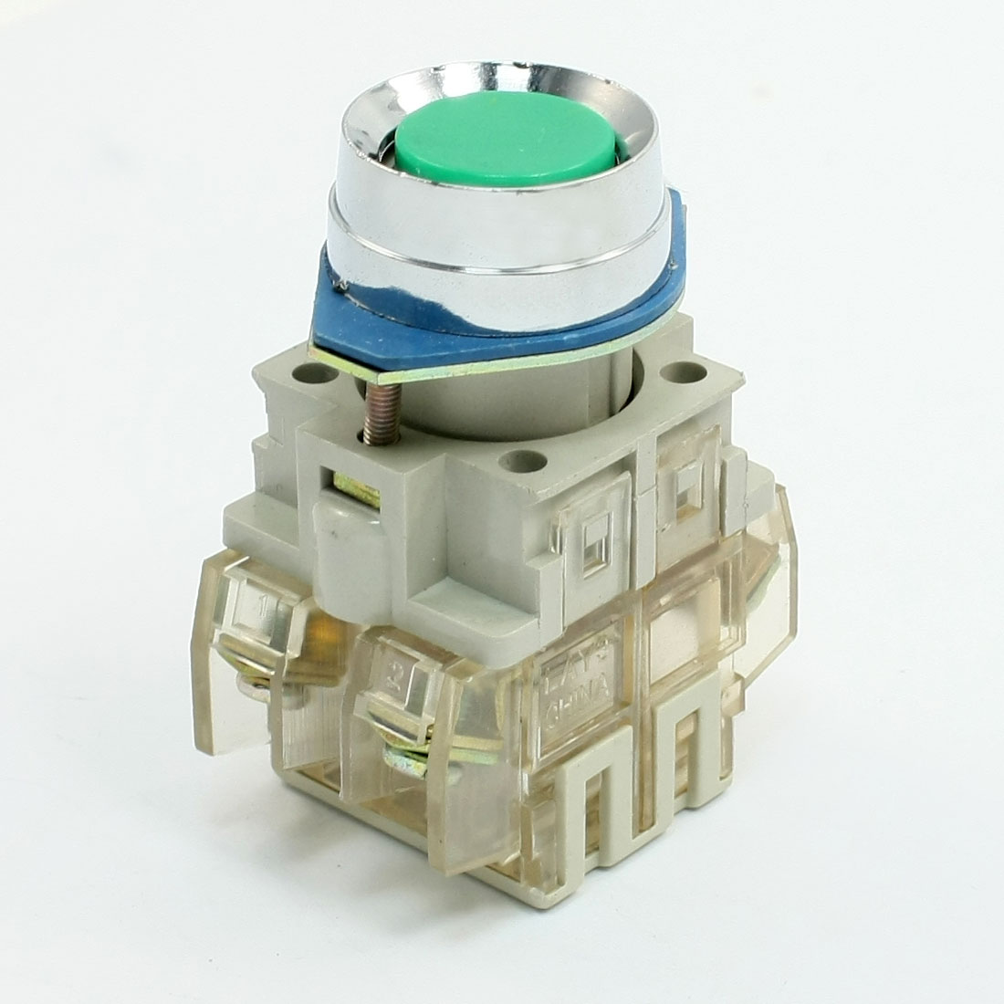 Green-Round-Cap-Momentary-Contact-NO-NC-Push-Button-Switch-AC-250V-4-5A