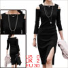 Women's Square Neckline Sheath Off-shoulder Slit Design Dress Black XS