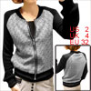 Women Black White Stand Collar Long Sleeve Wave Pattern Chic Jacket XS