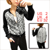 Black White Raglan Sleeve Floral Printed Casual Women Jacket XS