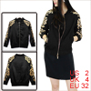 Ladies Stand Collar Long Sleeve Foil Floral Prints Black Track Jacket XS