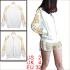 Woman Chic Foil Floral Pattern White Full Zip-Up Track Jacket XS