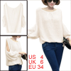 Women Scoop Neck Cut Out Sleeve Soft Elastic Sweater Off White S