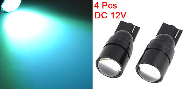 4 Pcs DC 12V Car T10 Ice Blue LED Lens Side Tail Parking Light Bulbs Lamp