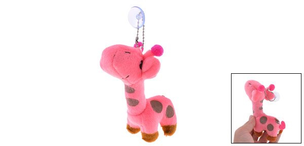 Kids Pink Plush Stuffed Cotton Giraffe Toy Pendant w Suction Cup