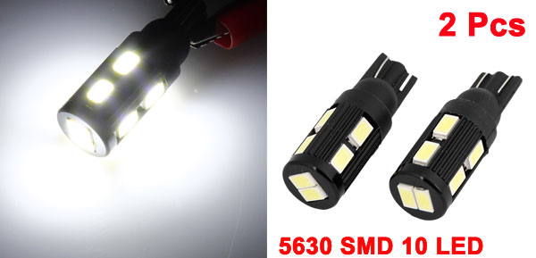 Vehicle Car T10 194 168 W5W White 5630 SMD 10 LED Bulb Wedge Light Lamp 2 Pcs