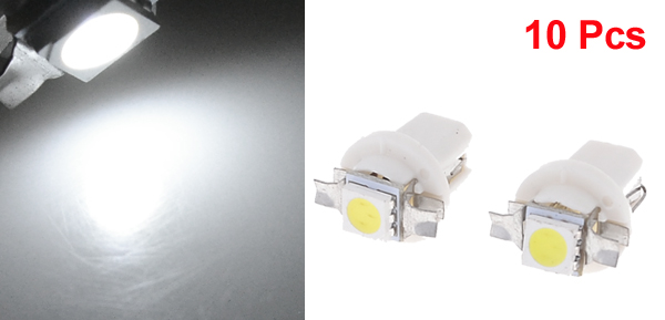 10pcs White T5 B8.5D Car 5050 SMD LED Dashboard Indicator Side Light Bulb internal