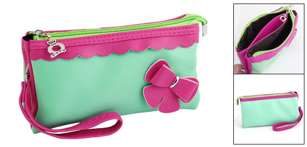 Ladies Faux Leather Bowknot Decorate 3 Pockets Zipper Purse Cyan Fuchsia