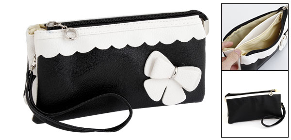 Lady Faux Leather Bowknot Accent 3 Pockets Zipper Purse Black White