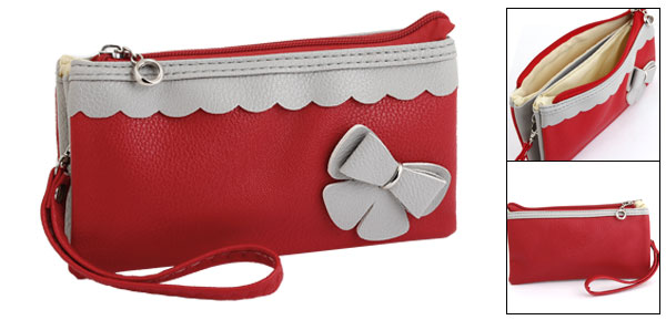 Ladies Faux Leather Bowknot Decorate 3 Compartments Purse Red