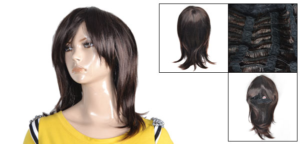 Lady Coffee Color Synthetic Straight Party Cosplay Hair Salon Wig 45cm