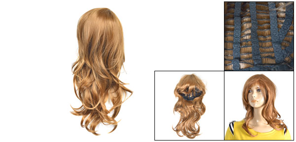 Lady Brown Layered Long Curly Synthetic Party Cosplay Hair Salon Wig 55cm
