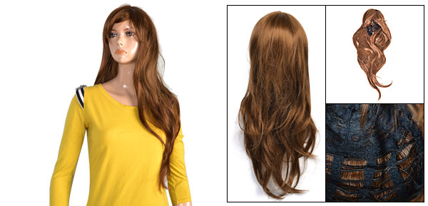 Lady Brown Layered Synthetic Party Cosplay Hair Salon Wig 70cm