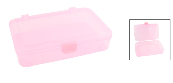 Home Rectangle Clear Pink Plastic File Certificate Holder Box
