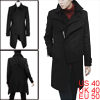 Men Inclined Zipper Long Trench Black Worsted Over...