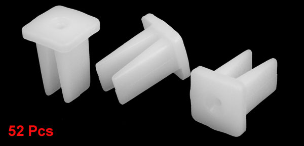 Auto 2mm Hole Dia White Plastic Rivets Fastener Fender Bumper Push Clips 52pcs