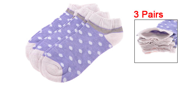 3 Pairs Light Purple Dots Pattern Elastic Casual Ankle Socks for Lady