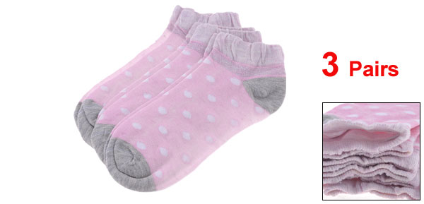 3 Pairs Pink Spot Dot Pattern Elastic Cuff Ankle Socks for Woman