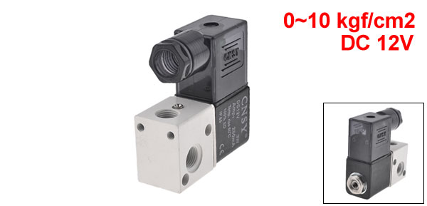 Black 3V1-06 2 Position 3 Way DC12V 250mA Pneumatic Solenoid Valve