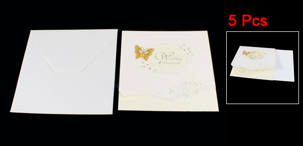 5 Pcs Butterfly Print Wedding Invitations Card w Envelope Stationery