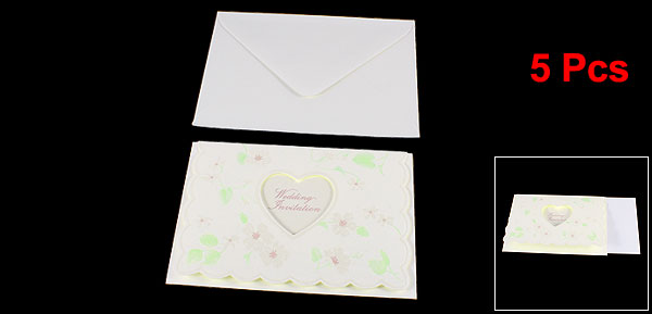 5 Pcs Invitations Card w Envelopes Stationerys for Wedding