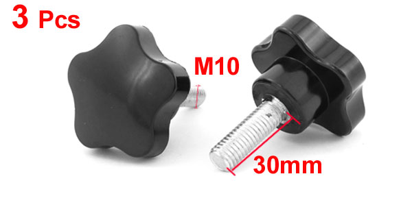 3 Pcs M10 x 30 Thread 50mm Dia Bakelite Knobs Handle Black for Machine Tool