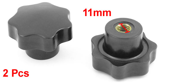 11mm Dia Female Thread Bakelite 57mm Dia Star Head Clamping Knob 2 PCS