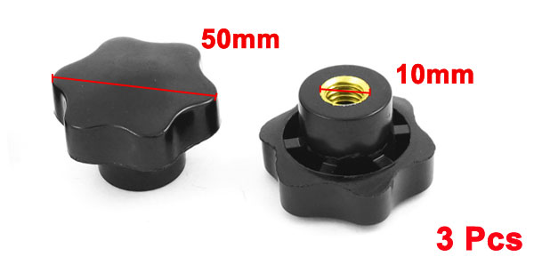 50mm Dia Head 10mm Dia Female Thread Through Clamping Star Knob 3 PCS
