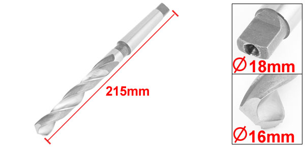 High Speed Steel Taper Shank Twist Drill Bit Drilling Tool 16mmx215mm
