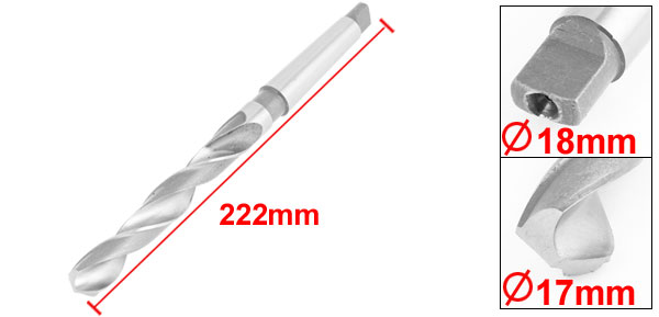 17mm Cutting Dia High Speed Steel Extended Taper Shank Twist Drill Bit