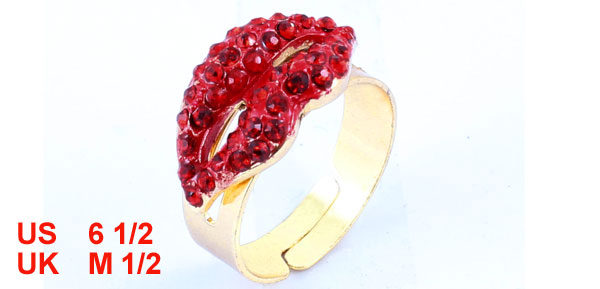 Copper Tone Rhinestone Detail Finger Ring US 6 1/2 for Ladies