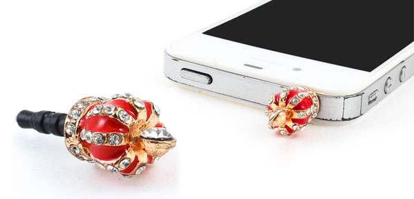 3.5mm Earphone Crown Design Ear Cap Dust Plug Dock for Mobile Phone
