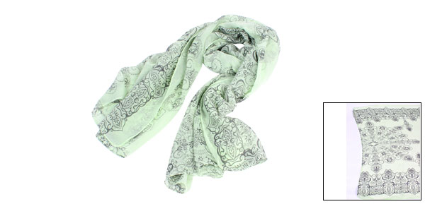 Light Green Retro Pattern Neck Wrap Shawl Scarf for Ladies