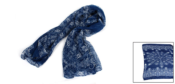 Navy Blue Retro Pattern Neck Wrap Shawl Scarf for Ladies