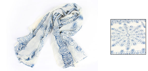 Off White Blue Retro Pattern Neck Wrap Shawl Scarf for Ladies