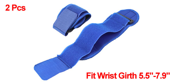 2pcs Basketball Tennis Blue Hook Loop Fastener Neoprene Wrist Support Protector